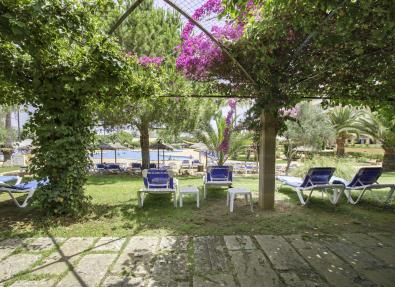 Jardín de la piscina del Hotel Garbí Cala Millor